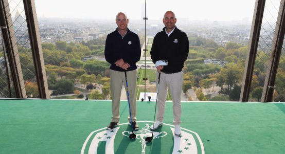 Ryder Cup captains smash golf balls off Eiffel Tower