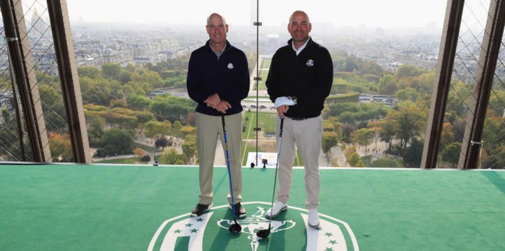 Ryder Cup captains smash golf balls off Eiffel Tower