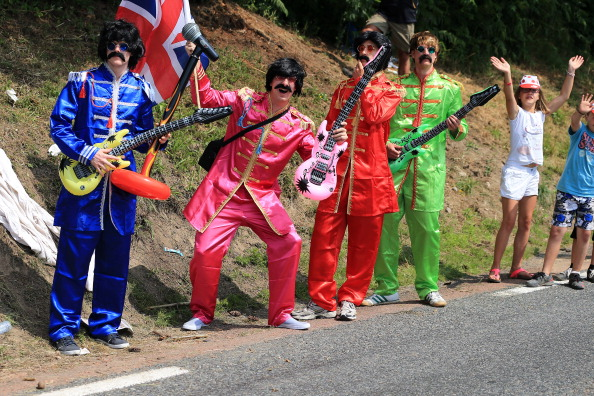 Fans dressed as The Beatles