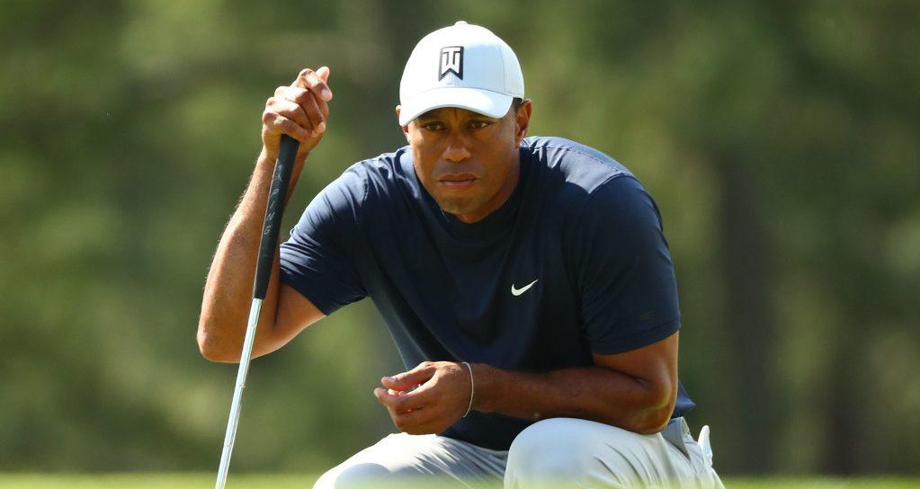 Tiger Woods assessing shot