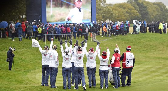 US team celebrate at Solheim Cup