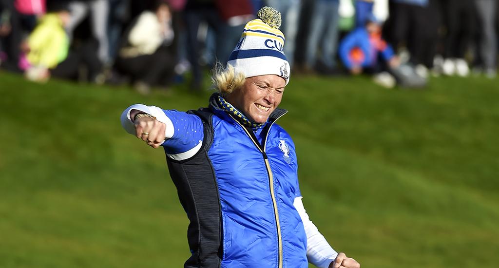 Suzann Pettersen celebrates at Solheim Cup