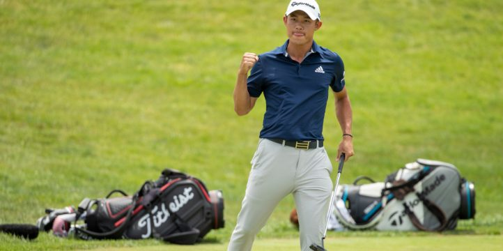 Jul 12, 2020; Dublin, Ohio, USA; Collin Morikawa pumps his fist after matching birdie putts with Justin Thomas on the first playoff hole of the final round of the Workday Charity Open. Mandatory Credit: Adam Cairns-The Columbus Dispatch via USA TODAY NETWORK /Sipa USA