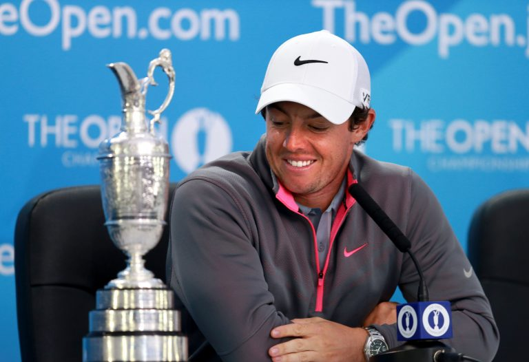 Rory McIlroy with the Open Championship trophy in 2014