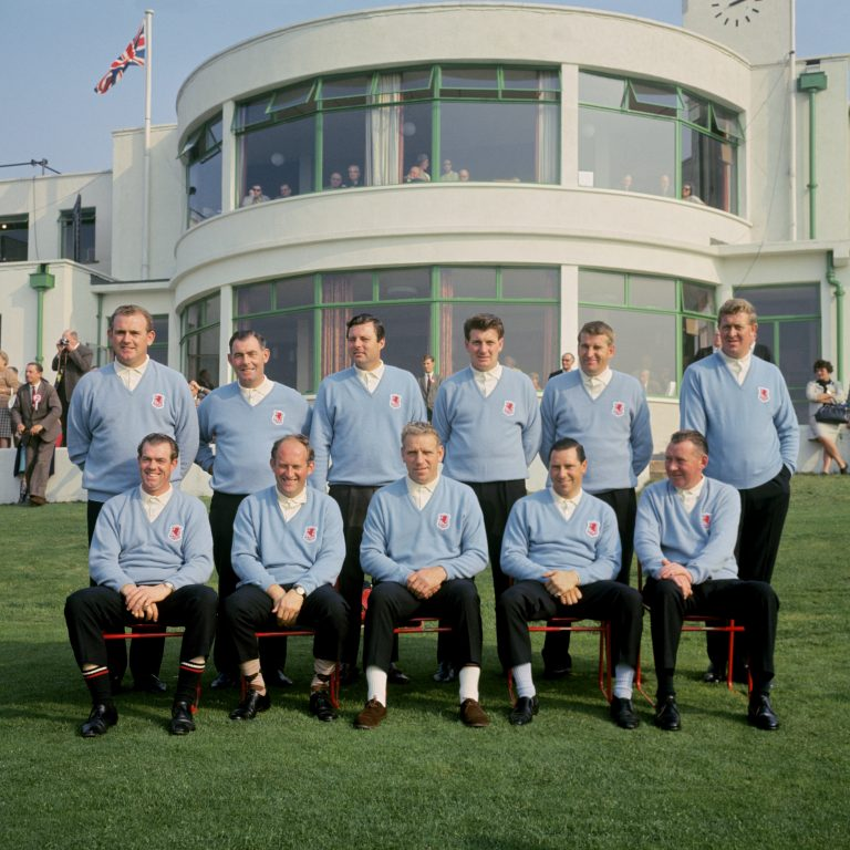 Peter Alliss (back row, third in from left) with his team-mates at the 16th Ryder Cup