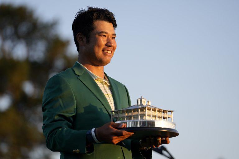 Hideki Matsuyama with the Masters trophy